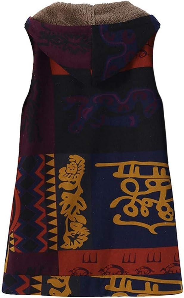 ZEFOTIM Women Warm Outwear Vintage Geometric Print Hooded Pockets Oversize Vest Coat