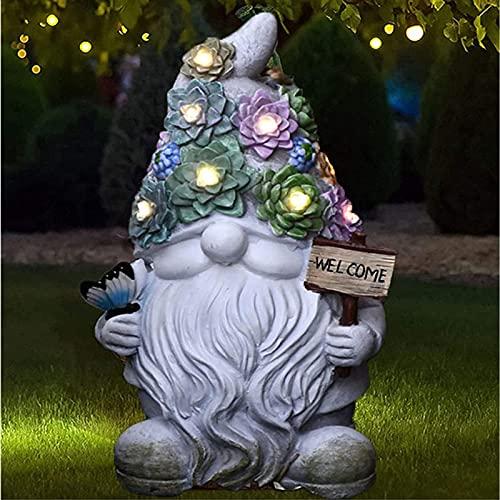 Estatua de gnomo solar Figuras Jardin Exterior Estatua de Gnomo de Jardín de Luces LED Estatuas de gnomos al aire libre Señal de bienvenida para camino de jardín Patio Césped Decoración de patio