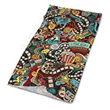 Roupaze Adult Neck Warmer Gaiters Bandana Doodle Cinema Items Combined in an Abstract Style Popcorn Movie Reel The End Theatre Masks Multicolor Balaclava Nose Tube Scarf Cap Hairband