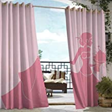 S Brave Sky Bridal Shower Outdoor Curtain Pair Bride in Pink Wedding Dress with Flowers Sketchy Celebration Image Outdoor Curtain for Patio Waterproof Salmon and Light Pink