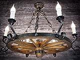 Rueda de madera–Lámpara de techo Rueda de carro Carruaje lámpara de techo antiguo Deko Hotel Posada 606S