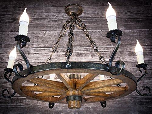Holzrad Hängelampe Wagenrad Kutsche Deckenlampe Antik Deko Hotel Gaststätte 606S