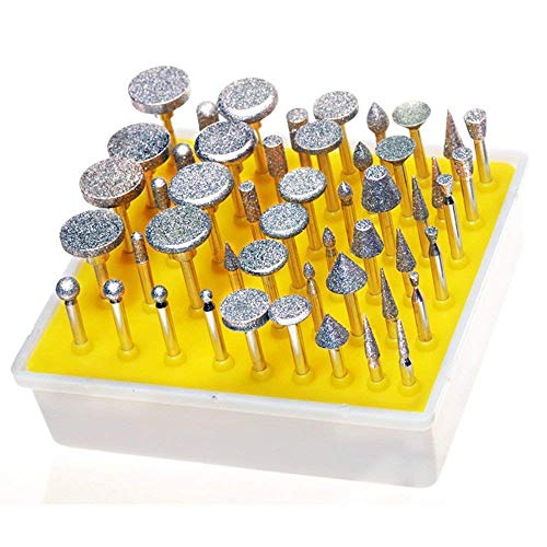 YEEZUGO 50pcs Diamond Coated Grinding Head Grinding Burrs Set for Dremel Rotary Tool …