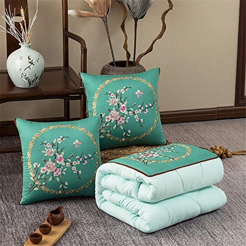 KCCCC Travel Blanket and Pillow Chinese-style Embroidered Pillow Quilt Dual-use Washed Cotton Air Conditioning Cushion Quilt 48x48cm PremiSoft 2 in 1 Airplane Blanket (Color : H, Size : 48x48cm)