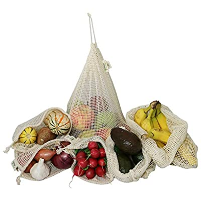 Simple Ecology Reusable Organic Cotton Mesh Grocery Shopping Produce Bags (heavy duty, washable, produce saver bags, food storage, bulk bin, tare weight tag, drawstring)