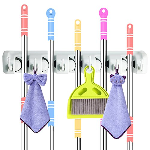 DiGiCare Broom Holder, Wall Mount Mop Holder Broom Hanger Organizer with 5 Ball Slots and 6 Hooks, Holds Up to 11 Tools for Kitchen, Bathroom, Garage