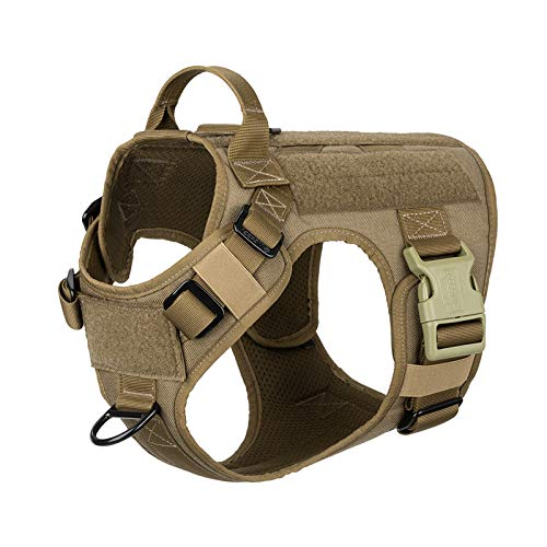 """ICEFANG Tactical Dog Patch Harness , Walking Training Vest with Handle , Hook and Loop Panel,Front Clip Leash Attachment (XL (Neck:20""""-28"""" ; Chest:32""""-39"""" ), Coyote Brown)"""