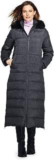 Women's Petite Winter Long Down Coat with Faux Fur Hood Faux Fur
