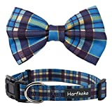 Pet Heroic Pet Dog Cat Collar with Grid Bow tie, Adjustable Plaid Pet Dogs Cats Comfortable Durable Bowtie Collars for Small Medium Large Dogs Cats in 3 Styles