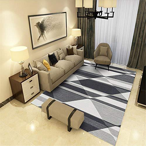 Modern tapijt met geometrisch patroon voor banken en vloerbedekking, duurzaam, verschillende maten met grijze strepen en ademende wijzerplaat voor eenvoudig onderhoud