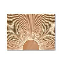 抽象焦げたオレンジライジングサンアートプリント自由奔放に生きる水平壁の写真日の出絵画キャンバス絵画ポスター(フレーム付き)