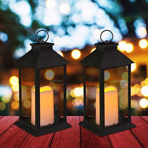 Relaxdays 2 x LED Laterne, Kerze mit Flammeneffekt, Outdoor geeignet, Deko-Laterne hängend oder stehend, H: 30 cm, schwarz