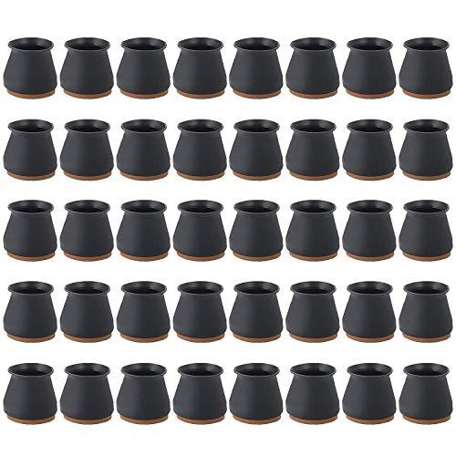 Copertura Protettiva in Silicone da 40 pezzi per Mobili con Feltro, Copertura per il Piede Della Sedia, Protezione per il Pavimento in Silicone, Cuscino per la Gamba della Sedia (Black)