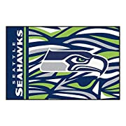 """19""""X30"""" NFL Seattle Seahawks Area Rug Football Themed Room Entry Mat Sports Patterned Rectangle Rug Bathroom Livingroom Office Carpet Team Logo Print Fan Gift Athletic Spirit Non-slip Backing, Nylon Includes: (1) Area Rug. Dimensions: 19 inches long ..."""