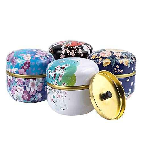 BENECREAT 4 Pack Bote de Té Estilo Japones Tarro de Hojalata con Doble Hermético Tapas Contenedor de Multiuso para Especias, Azucar, Té de Flores