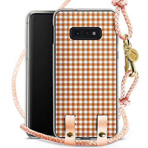Carry Case kompatibel mit Samsung Galaxy S10e Handykette Handyhülle zum Umhängen Karo Picknick Decke