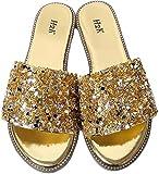 H2K Womens Glitter Bling Jewel Stone Fancy Slide Flat Low Wedge Sandals Shoes Dream (10 B(M) US, Gold)