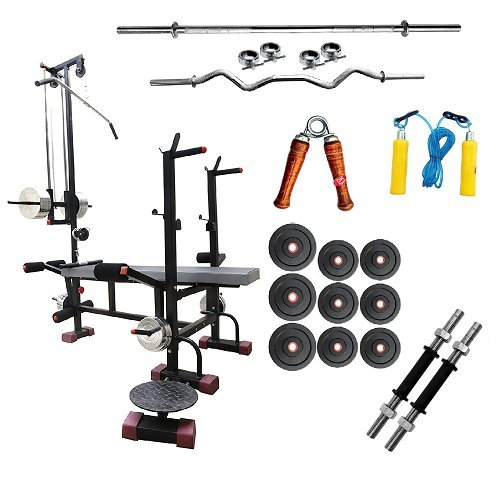 Bodykare 20-in-1 Multi-functional Fitness bench + 185 kg weight + Rubber weight plates +3 ft curl rod +5 ft plain Rod +1 Pair Dumbbells rod With Skipping rope, hand grip & Wrist band, Multicolor (sk1461)