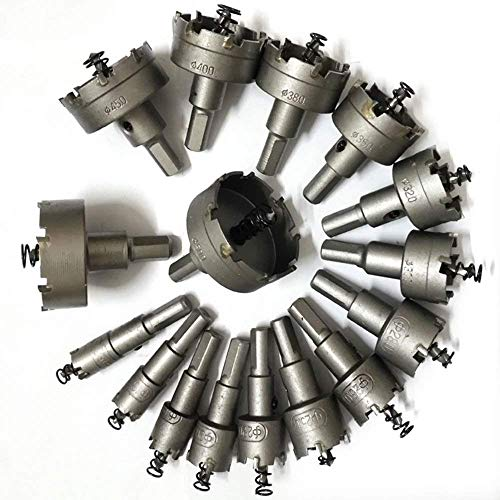 uyoyous 23 PCS 16-100mm Carbide Tip TCT Drill Bit Hole Saws Set Metal Alloy Hole Saw Kits for Stainless Steel Copper Iron Wood 5/8
