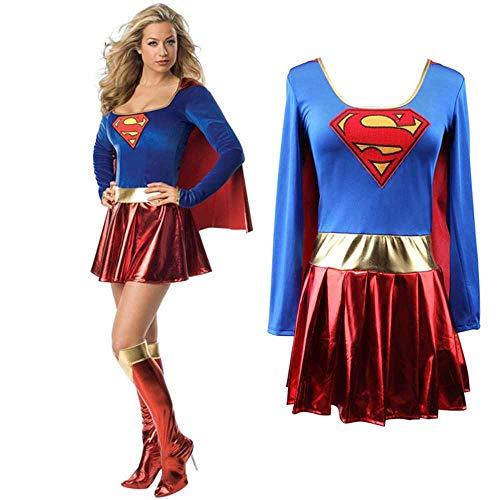 Superwoman Vestido Superman Cosplay Disfraces para Adultos y Niñas Halloween Super Girl Suit Superhero Wonder Woman Super Hero