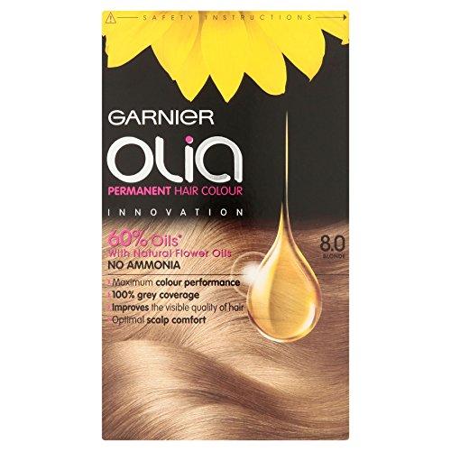 3 x Garnier Olia Permanent Hair Colour 8.0 Blonde