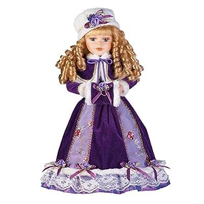 "Collections Etc Women's Alexandra Antique Replica Victorian Winter Porcelain Doll w/Gift Box - 16"" H"