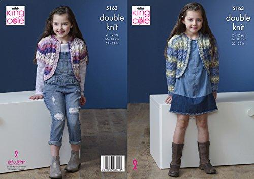 King Cole 5163 breipatroon meisjes korte en lange mouwen vesten in Splash DK