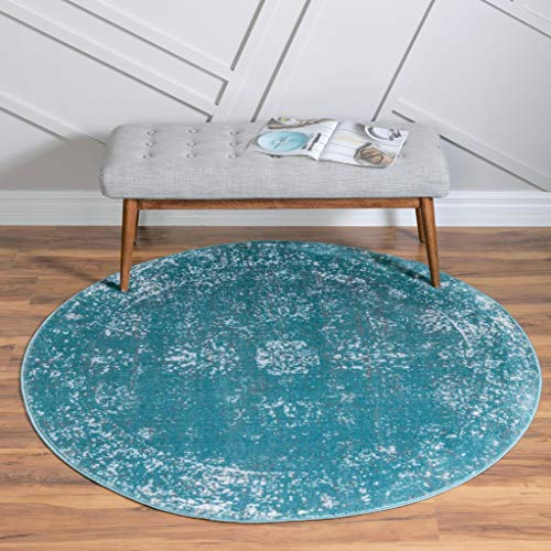 Unique Loom 3147040 Sofia Collection Traditional Vintage Turquoise Round Rug (5' 0 x 5' 0)
