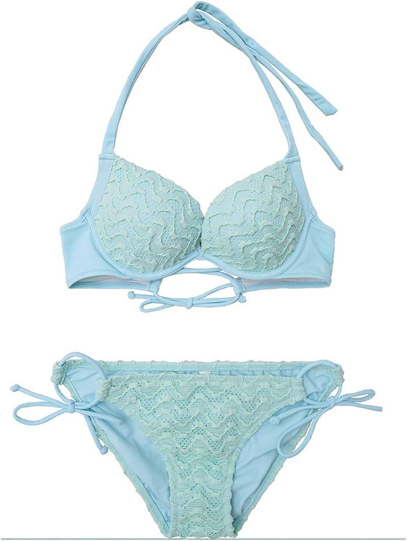 2 Piece Bikini Womens Water bluee Lace Pushup Bra Padded Swimsuit Beachwear (Size   S)