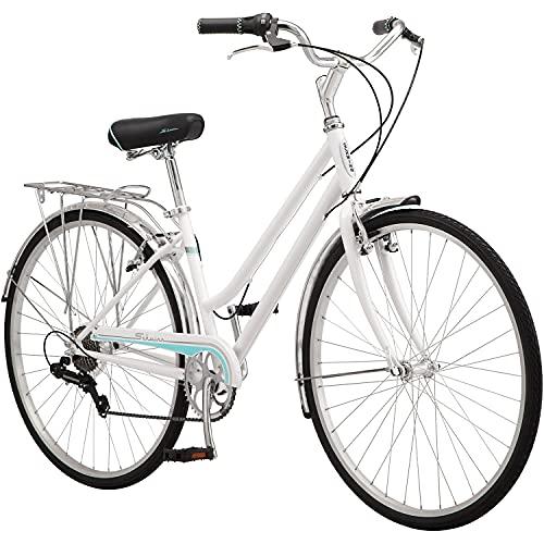 Schwinn Wayfarer Adult Bike Hybrid Retro-Styled Cruiser, 16-Inch/Small Steel Step-Through Frame, 7-Speed Drivetrain, Rear Rack, 700C Wheels, White