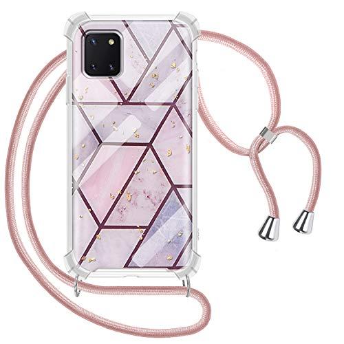 Greneric Handykette Hülle für Samsung Galaxy Note 10 Lite/A81, Marmor Necklace Hülle mit Kordel Transparent Silikon Handyhülle mit Kordel zum Umhängen Schutzhülle mit Band in Roségold
