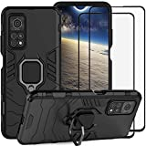 DuoLide for Xiaomi Mi 10T/10T Pro 5G Case, 2 in 1 Hybrid Heavy Duty Armor Shockproof Defender Kickstand Dual Layer Bumper Hard Back Case Cover Tempered Glass Screen Protector [2 Pack],Black
