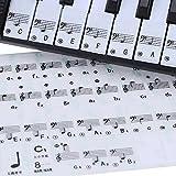 IKAYAAA Transparente 49 61 tecla Etiqueta de Nota Clave Pentagrama Piano Teclado electrónico 88 Teclas Blancas