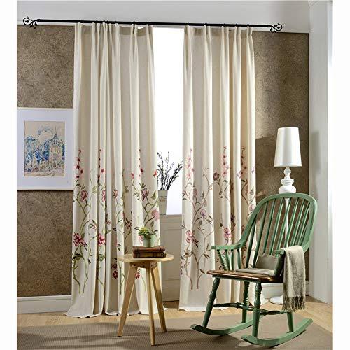 Floreale Ricamata Tessuto Tenda, Moderna Voile Stile Country Le Tende Cotone Lino Pura Tende alle finestre per Camera da Letto-Verde A 79x118inch(200x300cm)