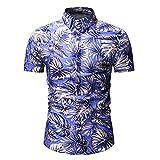 JJBKT Camisa de manga corta hawaiana con estampado de hojas 3D para hombre, Ys22 Azul, XL