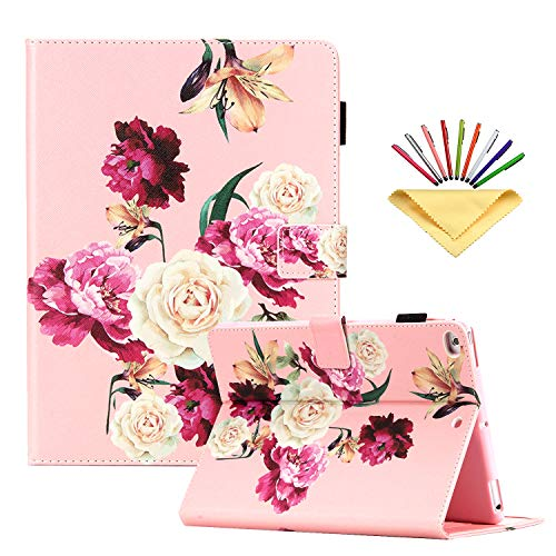 Uliking Cover for Apple iPad 9.7 2018/2017 (iPad 6th/5th Gen), iPad Air1/iPad Air 2 Case, Folio Stand PU Leather Auto Sleep/Wake Smart Magnetic Cover with Pencil Holder Card Pocket, Pink Rose Flower