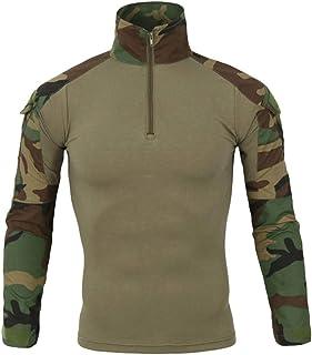 Haobing Hombres Táctico Camisa Manga Larga Respirable Camuf