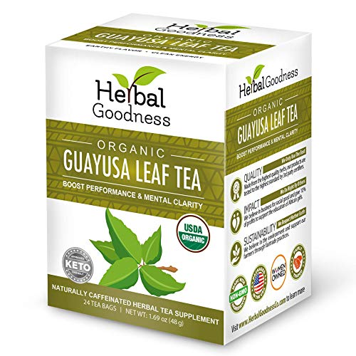 Guayusa Leaf Tea - Clean Energy - Natural Caffeine - Performance, Mental Clarity & Focus - Fat Burner - Coffee & Yerba Matte Alternative - Organic, Non GMO, Kosher, 24/2g Tea bags, Made in USA
