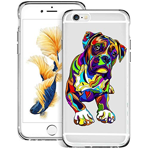 Airando iPhone 6s 6 Case,Neon French Bulldogs Pattern Clear Design Flexible TPU Shockproof Transparent Bumper Protective Cover Case for iPhone 6s 6