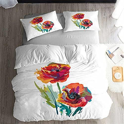 Fundas Nordicas 150x200 Flor Blanca Fundas Nordicas Cama 105, Ropa De Cama, 1 Funda de edredón con 2 Fundas De Almohada 50x75 cm para Adolescentes y NiñOs