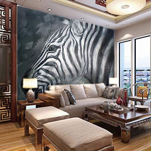 Fotobehang voor Jongens Slaapkamer Zwart en Wit Zebra,150X100Cm Non-Woven Muurschildering Fotobehang Kinderen Slaapkamer Woonkamer Decoratie 400x280cm