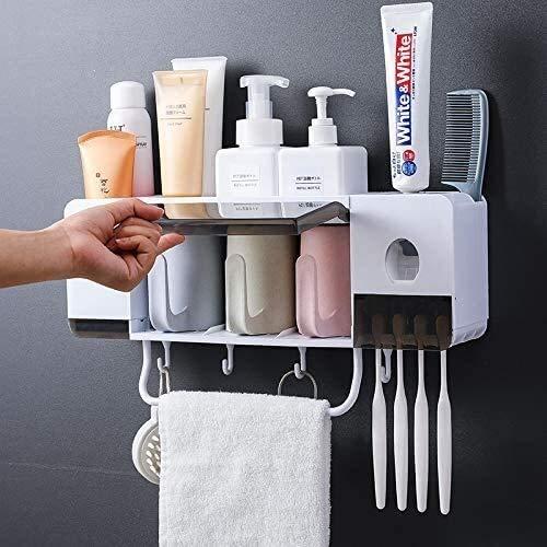 MGWA Dispensador de jabón AAA automático de pasta de dientes exprimidor de pared y soporte de cepillo de dientes antipolvo, organizador multifuncional...
