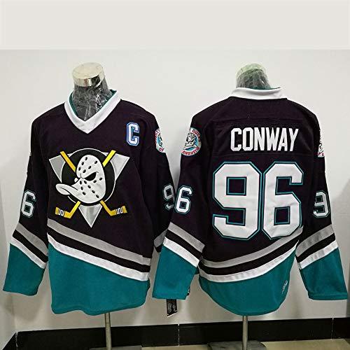 Charlie Conway # 96 / Selanne # 8 / Karya # 9 Anaheim Ducks Eishockey Trikots Herren Sweatshirts Atmungsaktiv T-Shirt Langarm Hockey Trikot(M-XXXL),96#,XXXL