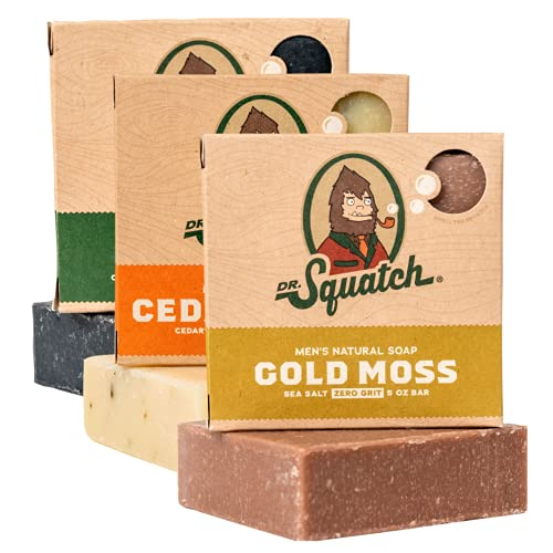 Dr. Squatch Men's Soap Variety Pack – Manly Scent Bar Soaps: Pine Tar, Cedar Citrus, Gold Moss – Handmade with Organic Oils in USA (3 Bars)