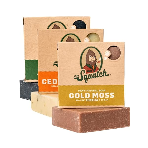 Dr. Squatch Men's Soap Variety Pack – Manly Scent Bar Soaps: Pine Tar, Cedar Citrus, Gold Moss – Handmade with Organic… 1