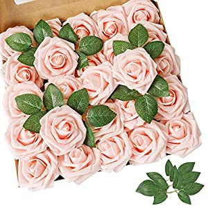 AmyHomie Artificial Flower Real Looking Fake Roses w/Stem for DIY Wedding Bouquets Centerpieces Arrangements Party Baby Shower Home Decorations