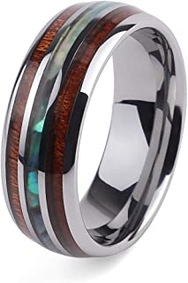 Hawaiian Wood and Abalone Shell Tungsten Carbide Rings Wedding Bands for Men