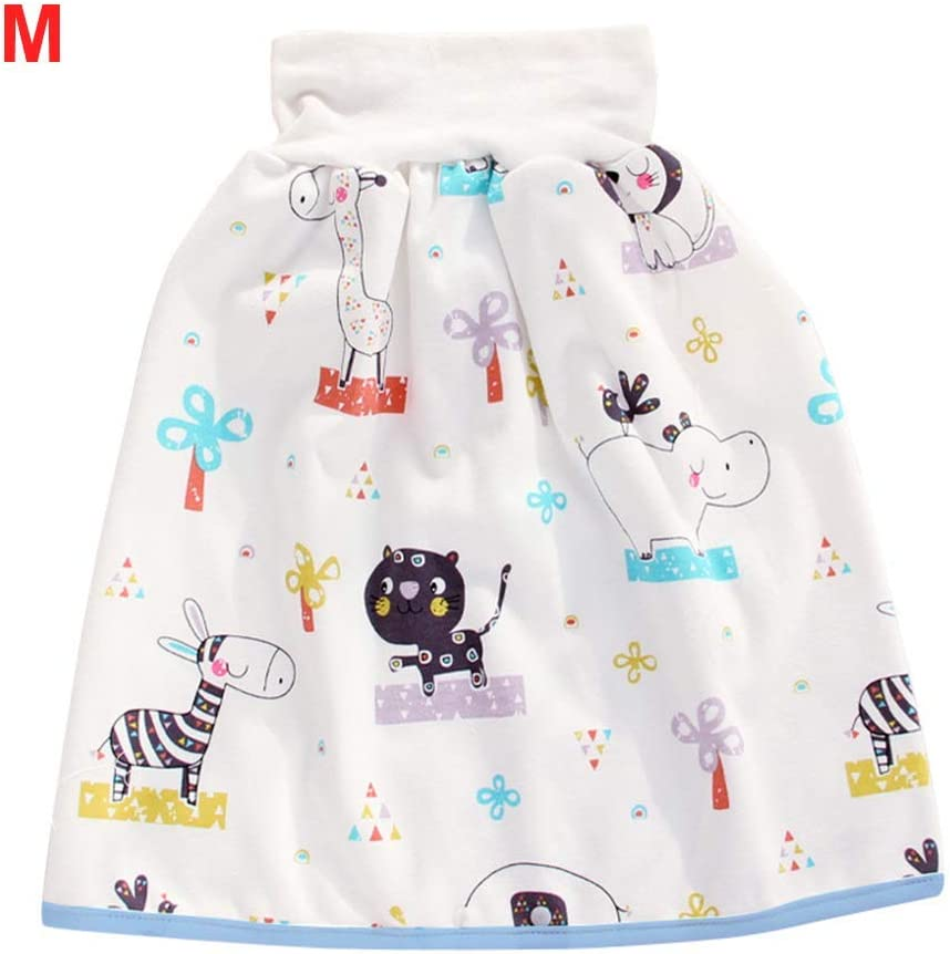 POHOVE 2 in 1 Comfatable Baby Diaper Skirt Shorts Anti Bed-wetting Washable Cotton Bamboo Fiber Waterproof Absorbent Bed Clothes for Baby Boy Girl Night Time Sleeping Potty Training High Waist