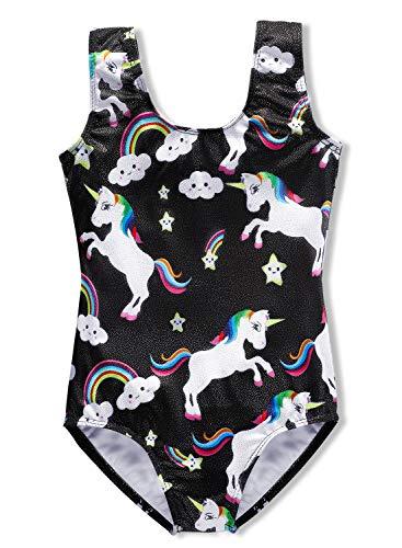 DAXIANG Leotards for Girls Gymnastics Unicorn Biketards Sparkle Purple (Black Unicorn, 120(4-5 Years))