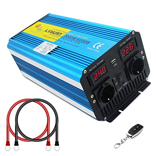 Spannungswandle 3000W/6000W 24V 230V Reiner Sinus Wechselrichter Fernbedienung LED+LCD Power Inverter mit 1 Steckdose und LCD-Display, für Auto, Wohnwagen, Boot, Reisen